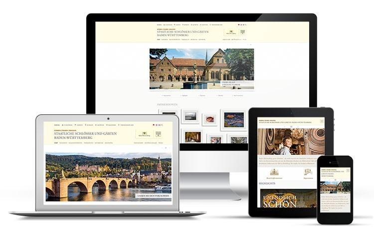 mobil-optimierte Seiten der Website der Staatlichen Schlösser und Gärten Baden-Württemberg